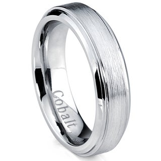 Oliveti Cobalt Men's Brushed Center Ring Beveled Edge Comfort Fit Band (5 mm)