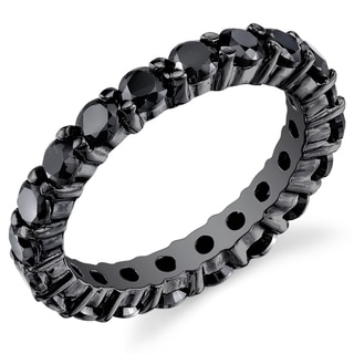 Oliveti Black Sterling Silver Round-cut Black Cubic Zirconia Eternity Ring
