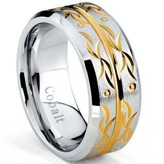 Oliveti Brushed Cobalt Men's Gold Plated Design Comfort Fit Band (9 mm)