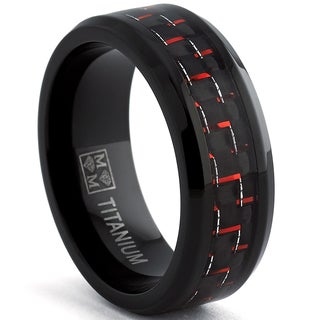 Oliveti Black Titanium Men's Black and Red Carbon Fiber Comfort Fit Band (8mm)