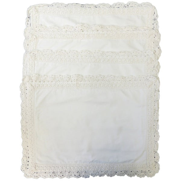 Vintage White or Ivory Crochet Placemats (Set of 4)