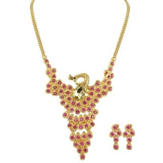 Kate Marie Peacock Goldtone Fashion Necklace and Earrings Set