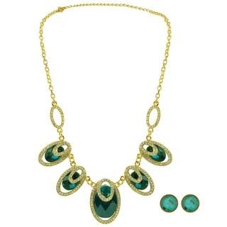 Kate Marie Goldtone Elegant Fashion Necklace and Earrings Set