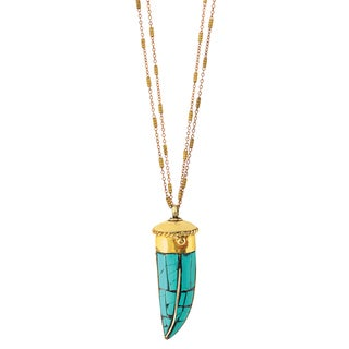 American Coin Treasures Brass Chain Turquoise Tibetan Horn Necklace