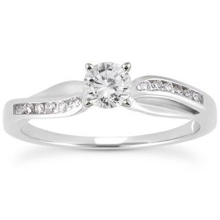10k White Gold 1/2ct TDW Round Diamond Engagement Ring (I-J, I2-I3)