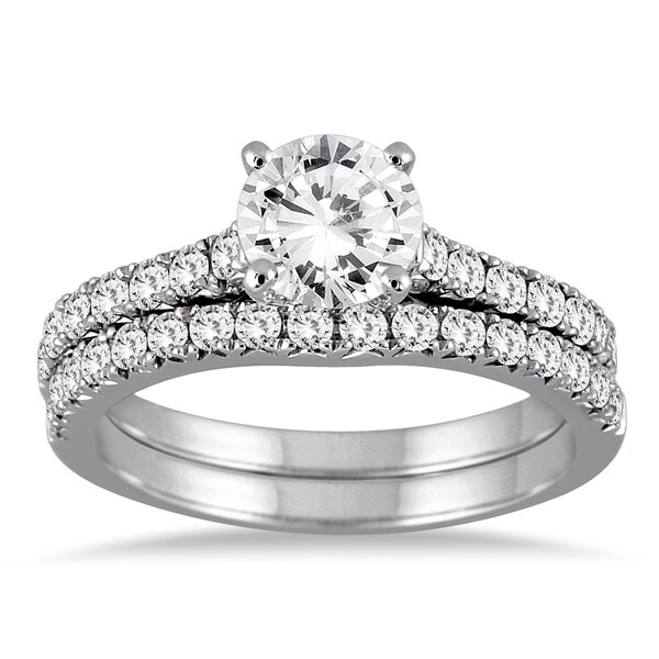 14k white gold 1 3 8ct tdw round diamond bridal set i j i2 i3