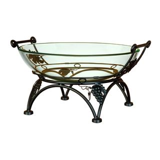 Thick Glass Bowl with Stand Adorned with Grapes