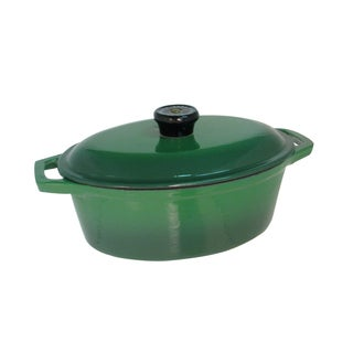 Le Cuistot Classic Enameled Green Cast Iron Oval Dutch Oven