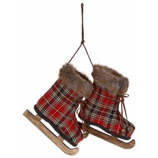 Plaid Decorative Holiday Ice Skates (Set of 2)