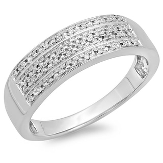 14k White Gold 1/6ct TDW Micro Pave Diamond Wedding Ring (H-I, I1-I2)