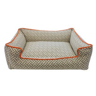 Grey and Orange Maze Chill Pet Bed