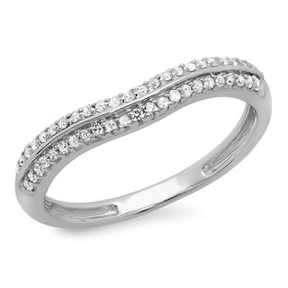 14k White Gold 1/5ct TDW Pave Double Row Curved Diamond Band (I-J, I2-I3)