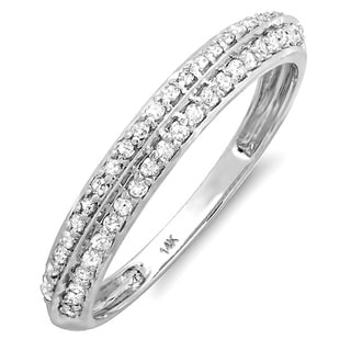 14k White Gold 1/4ct TDW Pave Double Row Diamond Band (I-J, I2-I3)