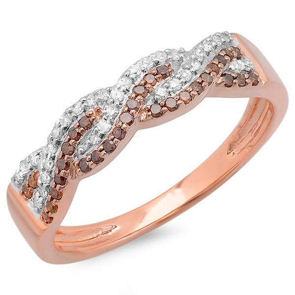 14k Rose Gold Red and White Diamond Braided Twist Ring (H-I, I1-I2)