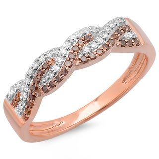 14k Rose Gold 1/3ct TDW Red and White Diamond Swirl Ring (H-I, I1-I2)