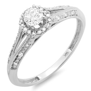 14k White Gold 2/5ct TDW Round Diamond Bridal Ring (H-I, I1-I2)