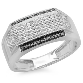 Platinum-plated Sterling Silver 1/2ct TDW Black and White Diamond Men's Ring