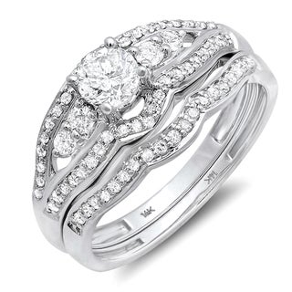 14k White Gold 7/8ct TDW Diamond Bridal Engagement Ring Set (H-I, I1-I2)