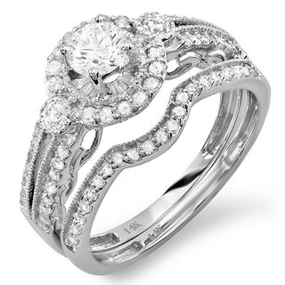 14k White Gold 1ct TDW Diamond 2-piece Bridal Engagement Ring Set (H-I, I1-I2)