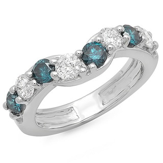 14k White Gold 1ct TDW Blue and White Diamond Anniversary Wedding Ring (I1-I2)