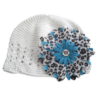 Bobitty Boo White Crocheted Leizi Hat and Leopard Print Daisy Clip