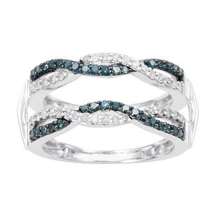 14k White Gold 1/2ct TDW Blue and White Diamond Double Ring