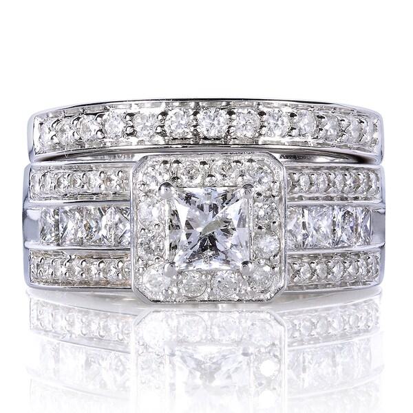 Annello 14k Gold 1 5/8ct TDW Princess-cut Halo Diamond Bridal Set (H-I, I1-I2)