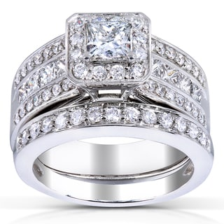 Annello 14k Gold 1 5/8ct TDW Princess-cut Halo Diamond Bridal Set (H-I, I1-I2)