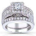 Annello 14k Gold 1 5/8ct TDW Certified Princess-Cut Halo Diamond Bridal Set (H-I, I1-I2)