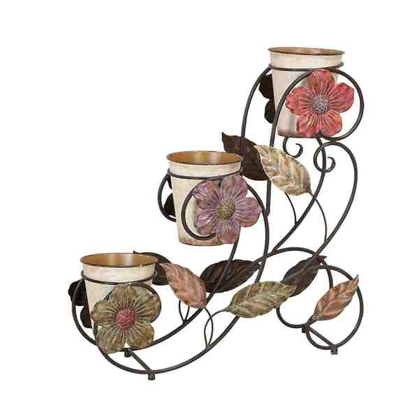 Floral Metal Planter Stand