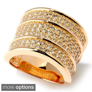 Yellow or Rose Gold Plated Sterling Silver CZ Ring