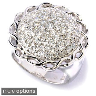 Platinum or Gold Plated Sterling Silver Round CZ Ring