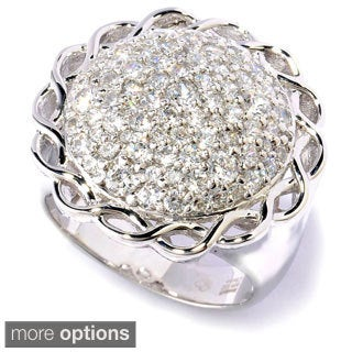 Sonia Bitton Platinum or Goldplated Sterling Silver Round CZ Ring