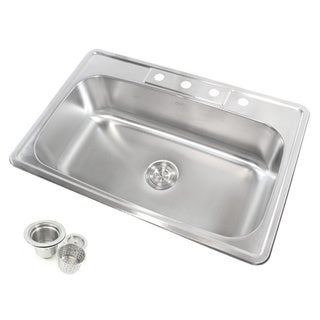 33-Inch 18-gauge Stainless Steel Top Mount Drop In Single Bowl Kitchen Sink