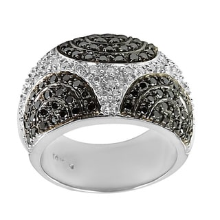 14k White Gold 1 1/3 ct TDW Black & White Pave Diamond Ring