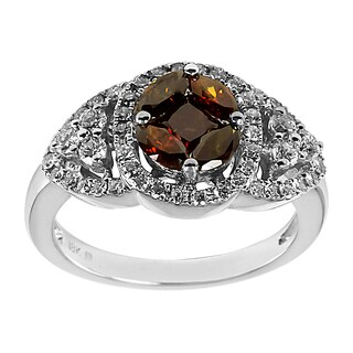 18k White Gold 1 3/8 ct TDW Dark Cognac Brown and White Oval Diamond Ring (H-I, I1-I2)