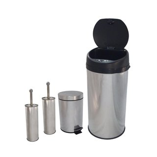 Stainless Steel Trash Bins And Stainless Toilet Brush Sets
