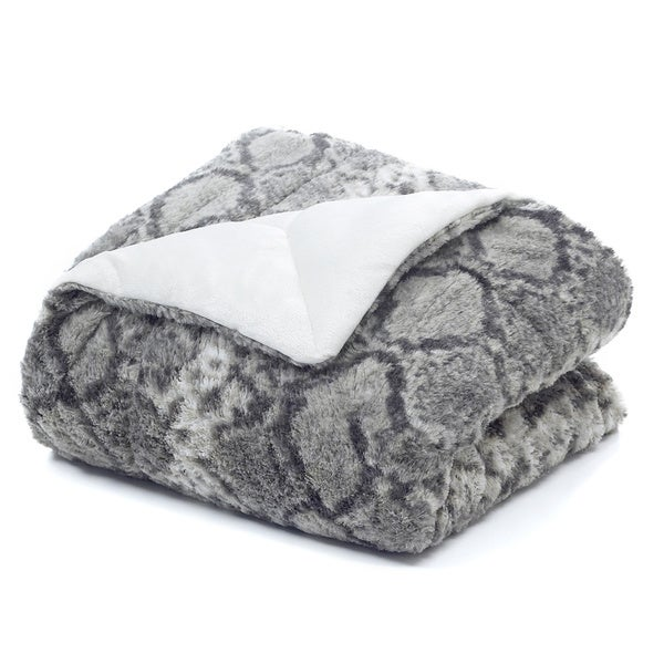 Snakeskin Faux Fur Throw Blanket
