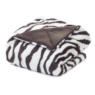 Zebra Faux Fur Plush Throw