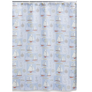 Sailing Cotton Shower Curtain and Hook Set