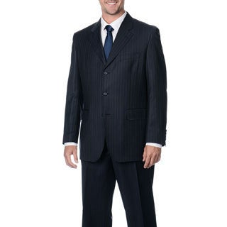 Silvio Bresciani Men's 'Super 120' Navy Striped 3-button Wool Suit