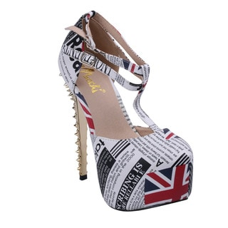 Machi Women's ENGLAND-3 Newsprint T Strap Dress Platform Almond Toe Stiletto High Heels