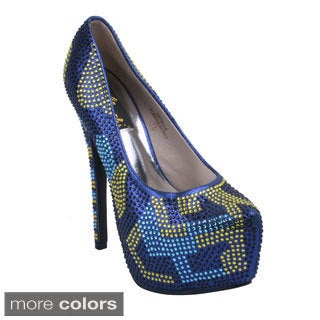 Machi Women's ESTINA-6 Crystal Rhinestone Gem Studded Platform High Heels