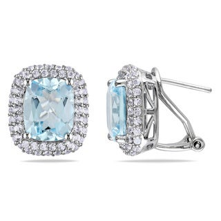 Miadora Sterling Silver 9ct TGW Blue and White Topaz Earrings