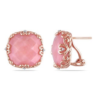 Miadora Rose Plated Silver Pink Opal and Diamond Accent Earrings