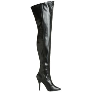 Pleaser Women's SEDUCE-3000 5-inch Stiletto Heel Plain Stretch Thigh High Boots