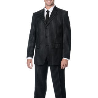 Silvio Bresciani Men's Super 120 Stripe Three-Button Double-Vent Wool Suit