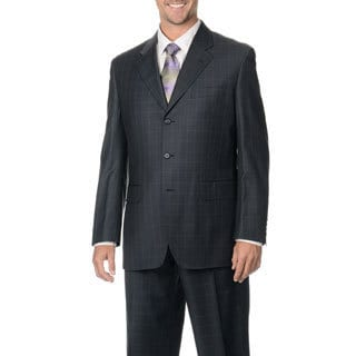 Silvio Bresciani Men's Charcoal/ Pink Windowpane 3-button Wool Suit