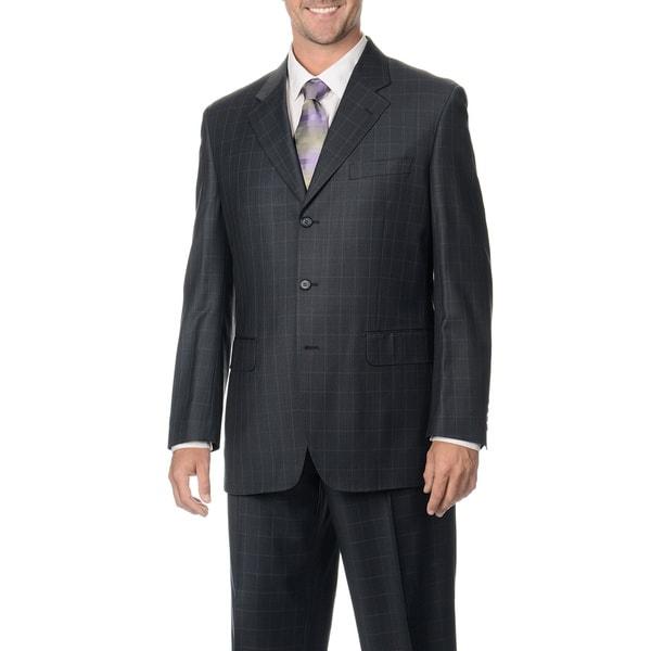 Silvio Bresciani Men's Charcoal/ Pink Windowpane 3-button Wool Suit