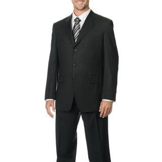Silvio Bresciani Men's Super 120 Stripe Three-Button Charcoal Wool Suit